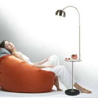 Arco floor lamp with coffee table